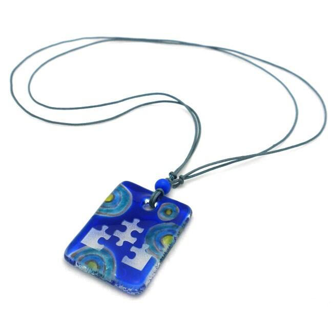 Blue Glass Puzzle Piece Necklace