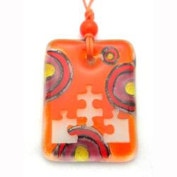 Orange Glass Puzzle Piece Necklace (Chile)