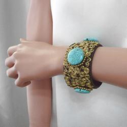 Goldtone Turquoise Golden Swirl Cuff (Thailand) - Thumbnail 2