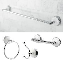 Chrome 4-Piece Brass Bathroom Accessory Set