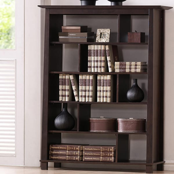 Havana Brown Five-Shelf Wood Modern Bookcase