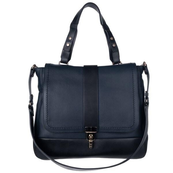 Lanvin X27 Leopold Navy Black Deerskin Leather Shoulder Bag