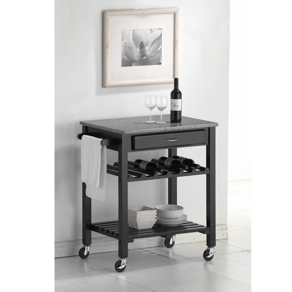 Quebec Black Wheeled Modern Kitchen Cart with Granite Top