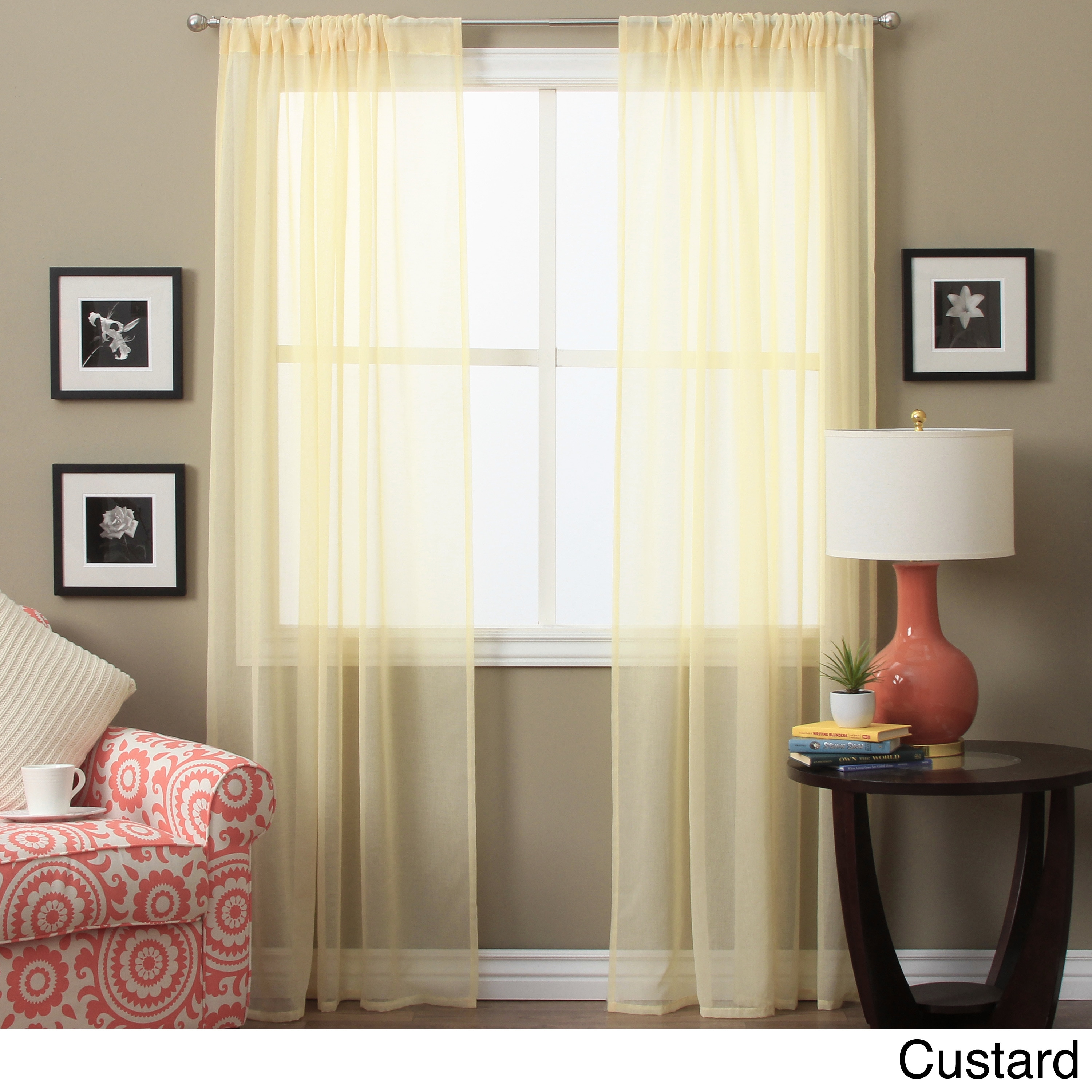 Lucerne 63 Inch Sheer Curtain Panel Pair 52