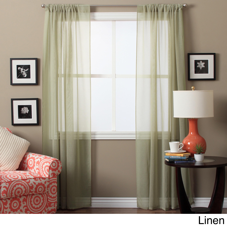 Lucerne 63 Inch Sheer Curtain Panel Pair 52 X 63 Ebay