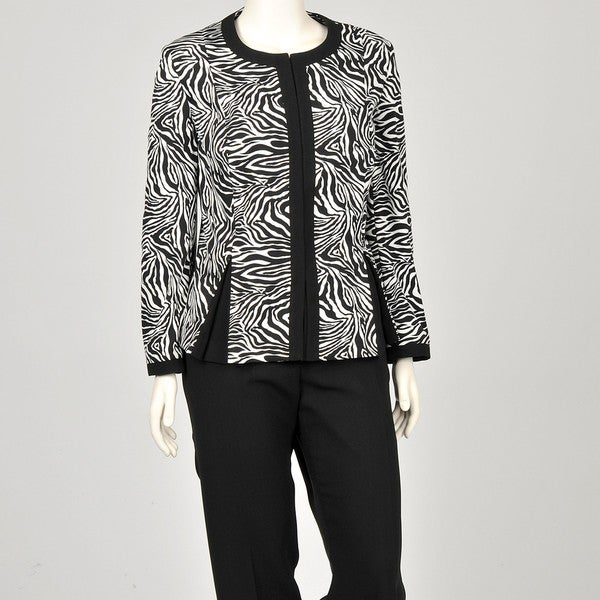 John Meyer Women's Plus Size Zebra Pant Suit