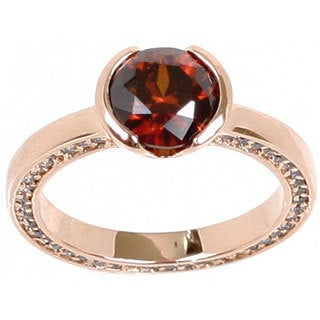 NEXTE Jewelry Rose Gold Overlay Auburn Cubic Zirconia Solitaire Ring