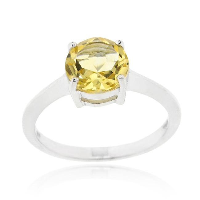 Glitzy Rocks Sterling Silver 1 1/5ct TGW Citrine Solitaire Ring
