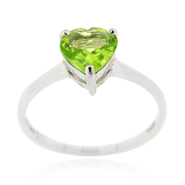Glitzy Rocks Sterling Silver Heart-cut Peridot Solitaire Ring