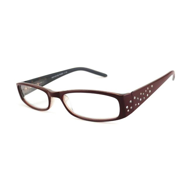 Urban Eyes Women's Crystal Burgundy Reading Glasse