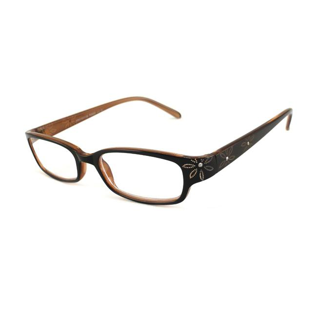 Urban Eyes Women's Crystal Floral Brown Reading Glasses