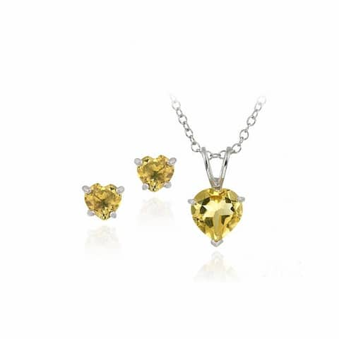 Glitzy Rocks Sterling Silver Citrine Solitaire Heart Earring and Necklace Set