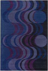 Hand-tufted Mandara Blue Wool Rug (5' x 7'6) - Thumbnail 2
