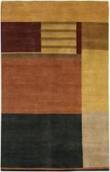 Hand-knotted Mandara Multi-color Wool Rug (5' x 7'6) - Thumbnail 1