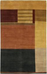 Hand-knotted Mandara Multi-color Wool Rug (5' x 7'6) - Thumbnail 2