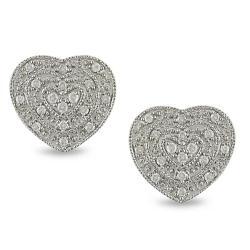 Miadora 10k White Gold 1/5ct TDW Diamond Heart Earrings (H-I, I2-I3)