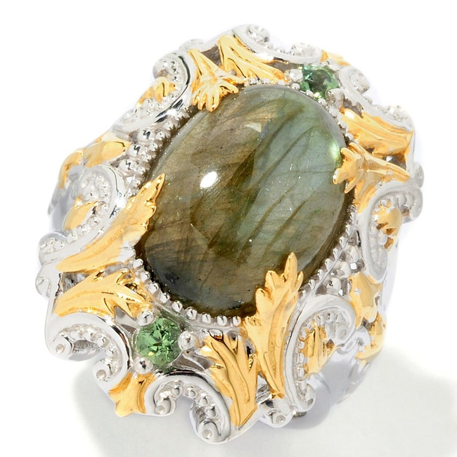 Michael Valitutti Two-tone Labradorite and Green Apatite Ring - Thumbnail 0