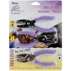 Darice Purple Heart, Star, and Circle Hole Punches (Pack of Three)