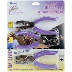 Darice Circle Hole Punches with Purple Plastic Handles (Pack of Three)