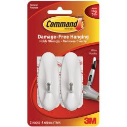 Command Medium Wire Hooks with Adhesive (Pack of 2)