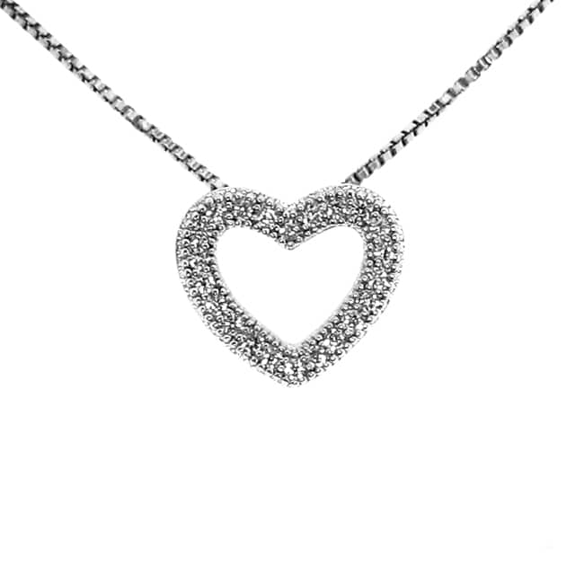 Sterling Silver Clear Cubic Zirconia Heart Necklace