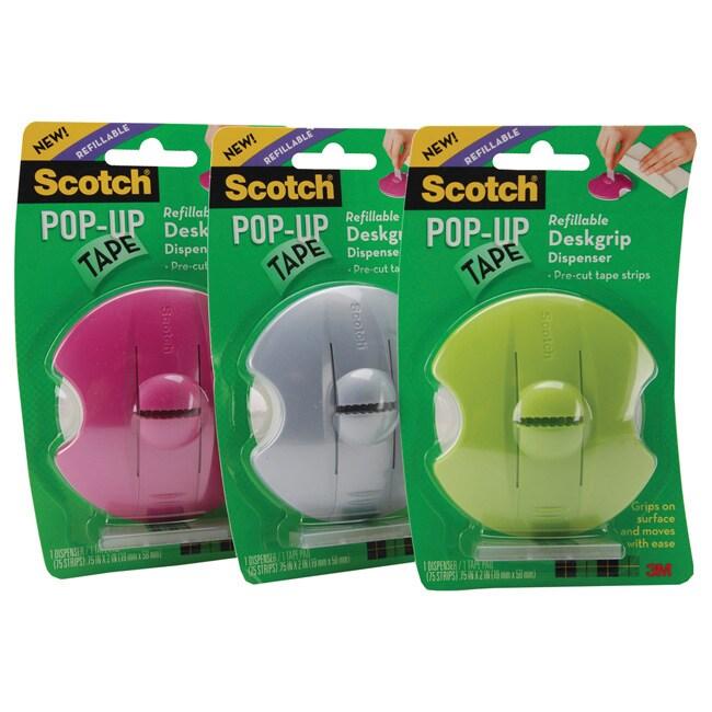 Scotch Pop-up Refillable Deskgrip Pre-cut Strips Tape Dispenser