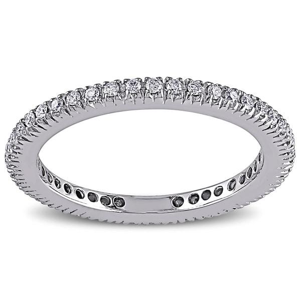 Miadora 14k White Gold 1/3ct TDW Diamond Wedding Band (G-H, SI1)