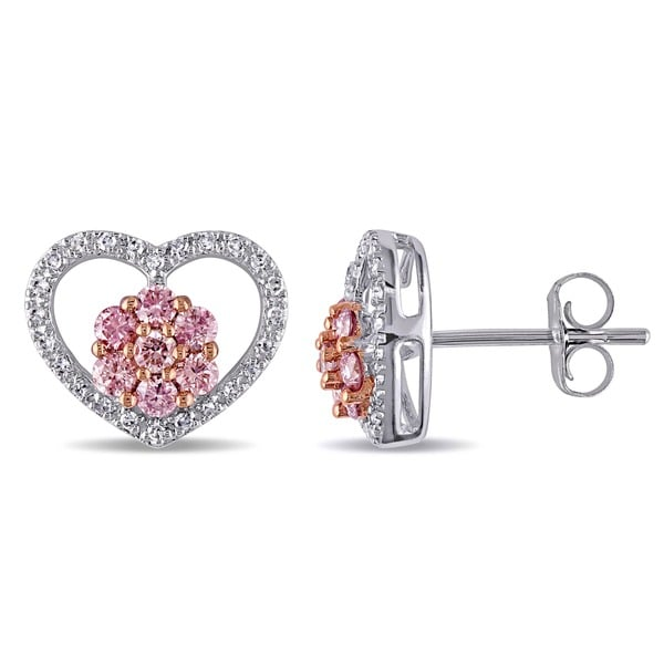 Miadora 14k Gold 3/5ct TDW Pink and White Diamond Heart Earrings (G-H, I1-I2)