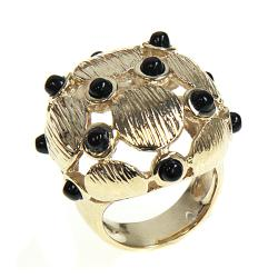 Adee Waiss 18k Gold Overlay Black Agate Globe Ring
