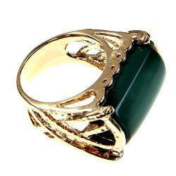 Adee Waiss 18k Gold Overlay East/ West Green Lucite Ring - Thumbnail 1