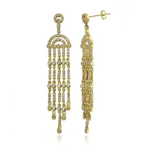 Icz Stonez Goldplated Cubic Zirconia Chandelier Earrings