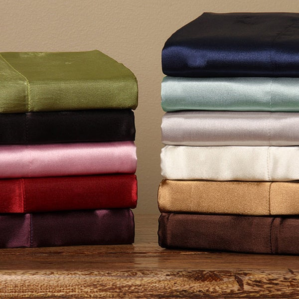 Shop Silky Satin Twin Full Size Satin Sheet Set Free