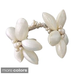 Shell and Pearl Floral Cuff Bracelet (4-7 mm)(Thailand)