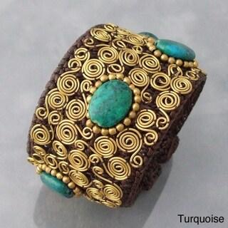 Handmade Goldtone Gemstone Golden Swirl Cuff Bracelet (Thailand)