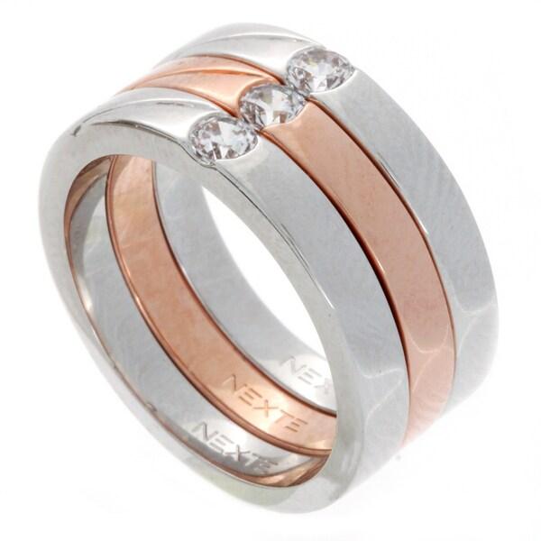 NEXTE Jewelry Gold Overlay Cubic Zirconia Ring Set
