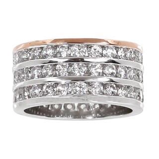NEXTE Jewelry Two-tone Clear Cubic Zirconia 3-row Eternity Band