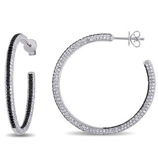 Miadora Signature Collection 14k White Gold 3 1/2ct TDW Black and White Diamond Earrings (G-H,SI1-SI2)
