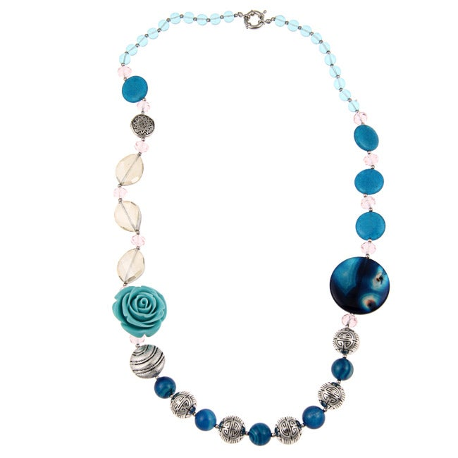 Pearlz Ocean Blue Agate, Jade, Resin and Glass Bead Necklace