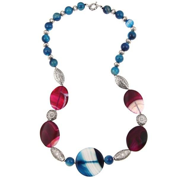 Pearlz Ocean Silvertone Purple and Blue Agate Necklace
