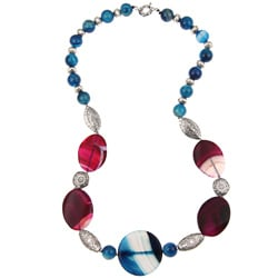 Pearlz Ocean Silvertone Purple and Blue Agate Necklace