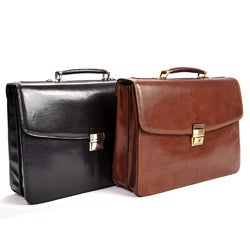 Tony Perotti Men's Italian Bull Leather Parma Classic Double Compartment Leather Laptop Briefcase