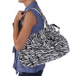 Journee Collection Women's Zebra Print Ruffled Tote Bag