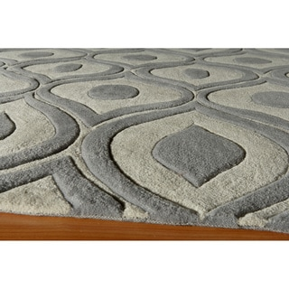 Modern Waves Grey Hand-Tufted Rug (2' x 3')