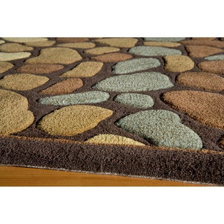 """Hand-tufted Pebbles Brown Rug (5'0"""" x 7'6"""")"""