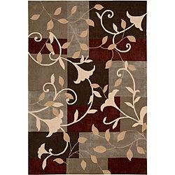 "Nourison Hand-Tufted Contours Mocca Floral Rug (5' x 7'6"")"