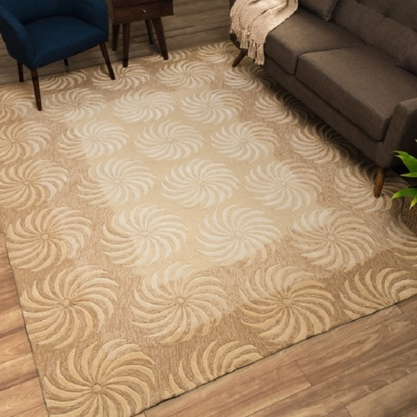 Nourison Hand-tufted Contours Taupe Rug - 8' x 10'6