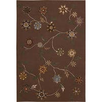 Nourison Hand-Tufted Contours Floral Brown Rug - 3'6 x 5'6