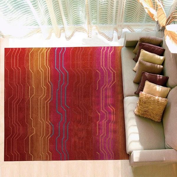 Nourison Hand-tufted Contours Sunburst Rug (5' x 7'6) - 5' x 7'6