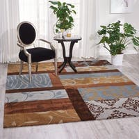 Nourison Hand-tufted Contours Multicolor Rug - Brown/Blue - 7'3 x 9'3