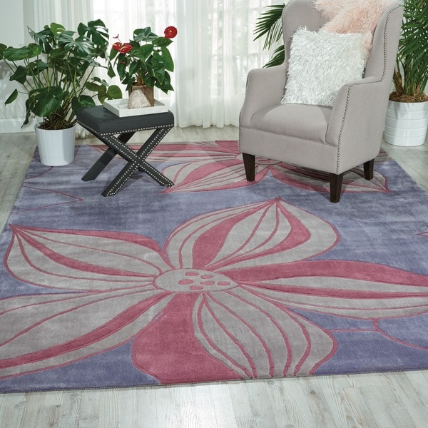 Nourison Hand-tufted Contours Violet Rug (5' x 7'6)